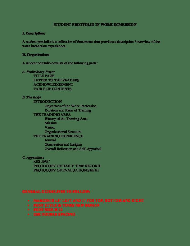 shs work immersion resume sample