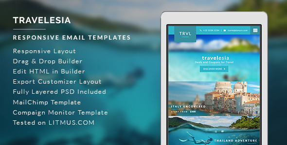 Travel Agent Newsletter Templates - Travelesia by micromove