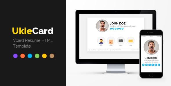 ukieCard - Personal Vcard  Resume HTML Template (Virtual Business