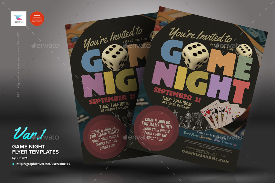 Amazing Game Night Flyer Template Illustration Professional Resume