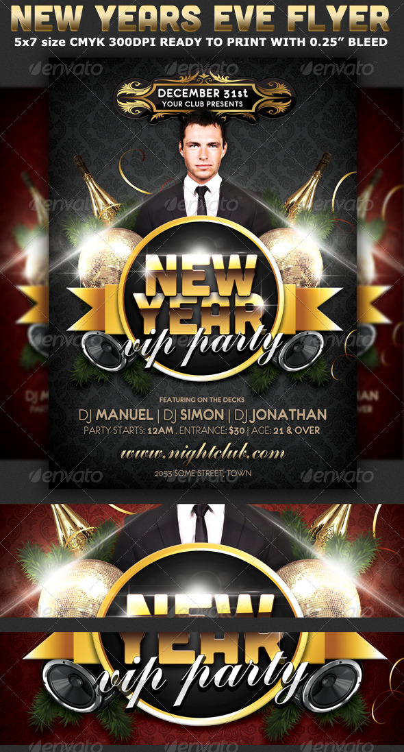New Years Eve Vip Party Flyer Template Print Templates Flyers - free new years eve flyer template