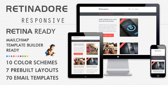 Retinadore \u2013 Responsive Email Newsletter Template Themes Code