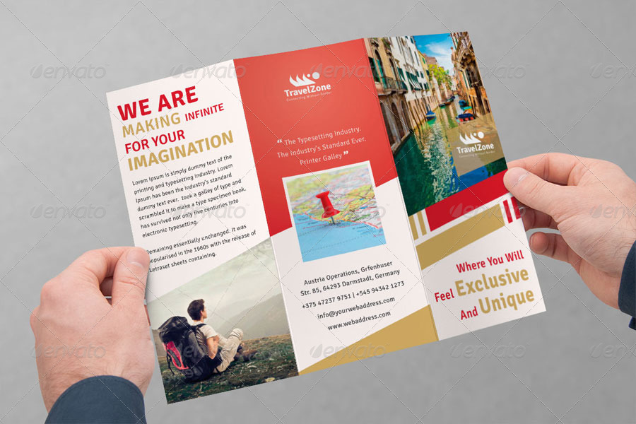 Creative Travel Brochure Trifold ideal for travel agencies who - folded brochure