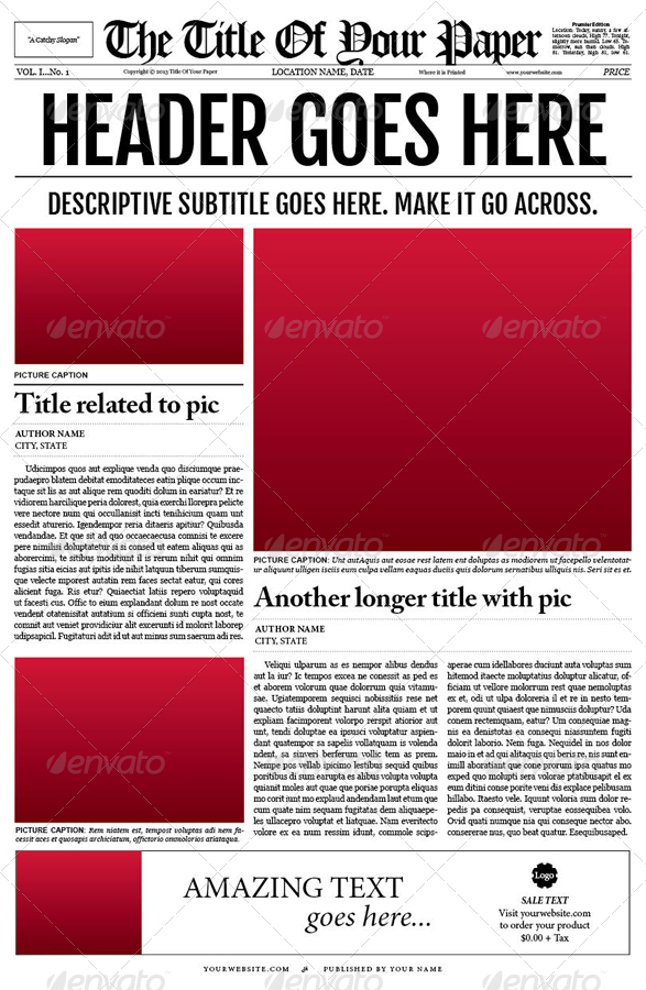 indesign tabloid newspaper template