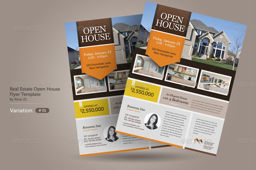 Clean flat flexible design Easy to customize and change colors - sample real estate brochure