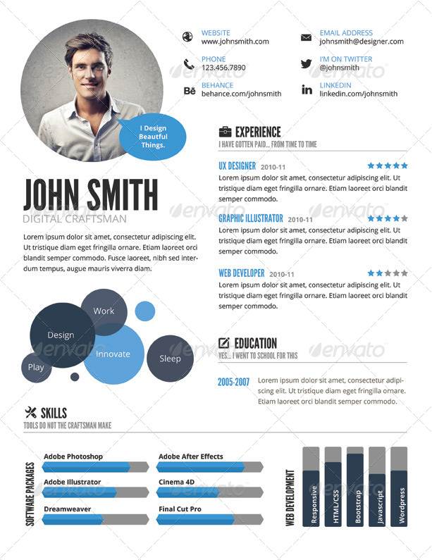 Sample Templates Infographic Style Resume Template By Graphicmonkee
