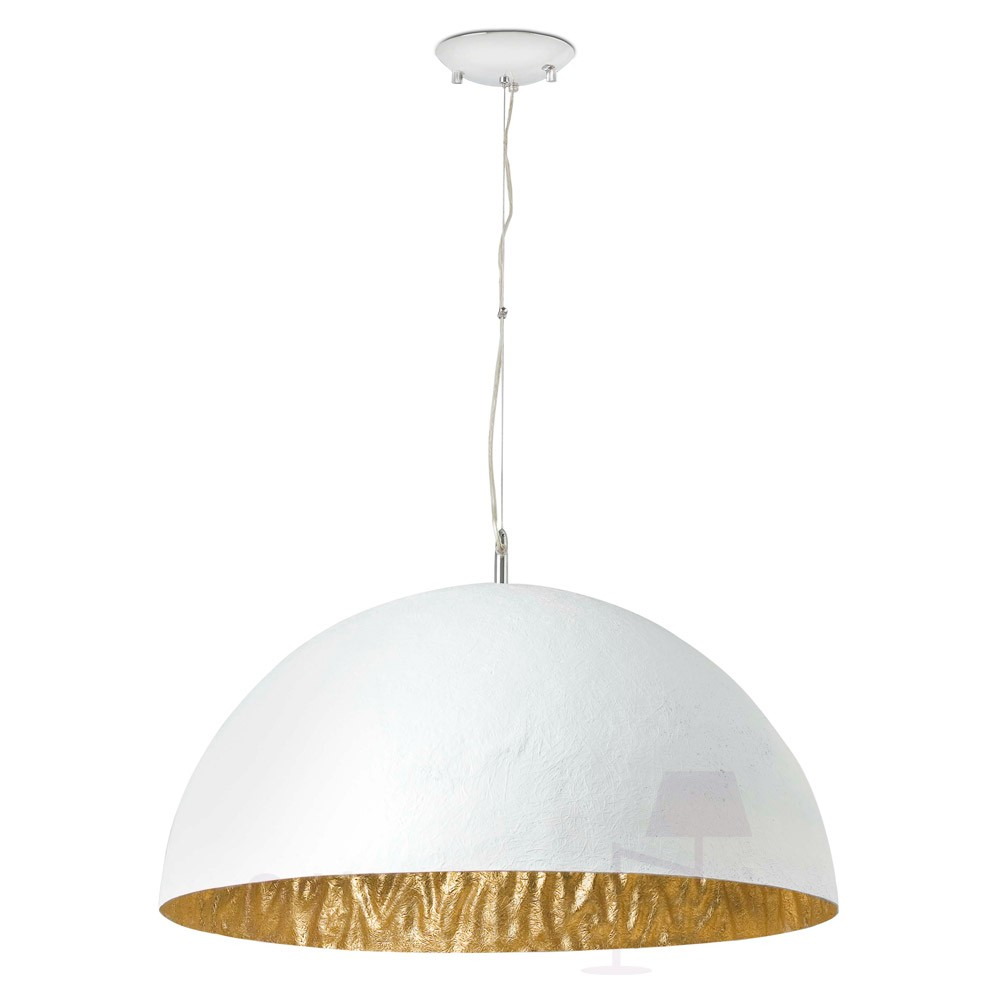 Luminaire Blanc Suspension Magma 3xe27 60w Blanc Et Or Faro