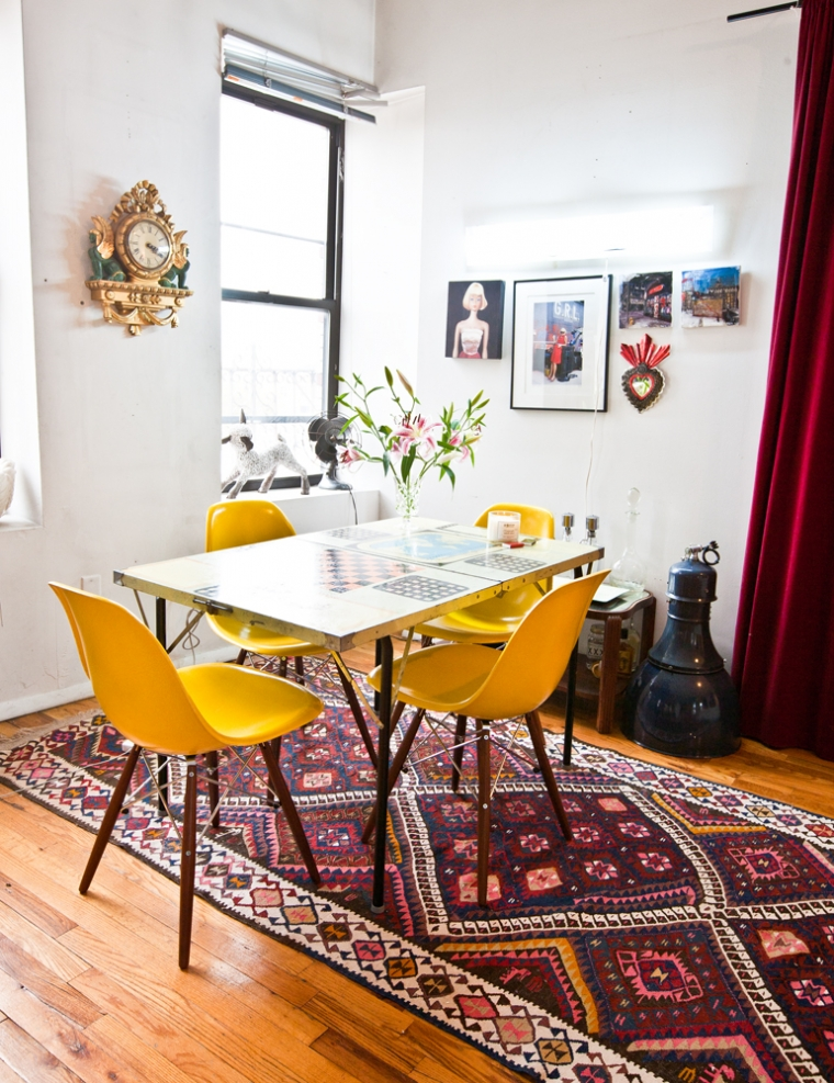 Wereldkaart Tapijt Eclectische Studio In Williamsburg - Interior Junkie