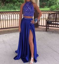 Two Piece Long Prom Dress, Royal Blue Long Prom Dress ...