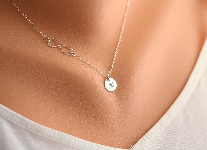 Infinity Necklace With Initial Charmsidewaysinitial