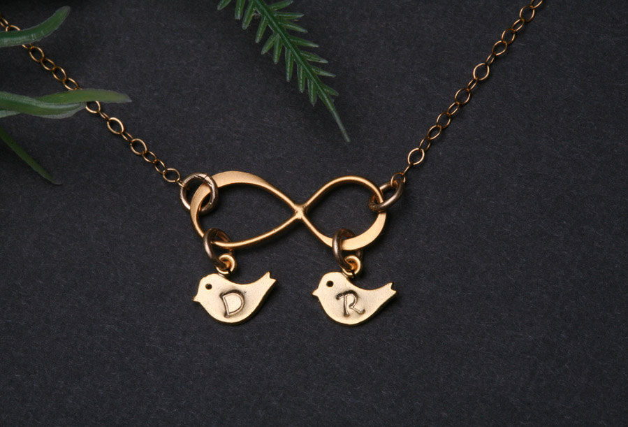 Gold Infinity Necklace With Bird Initial Charmbird