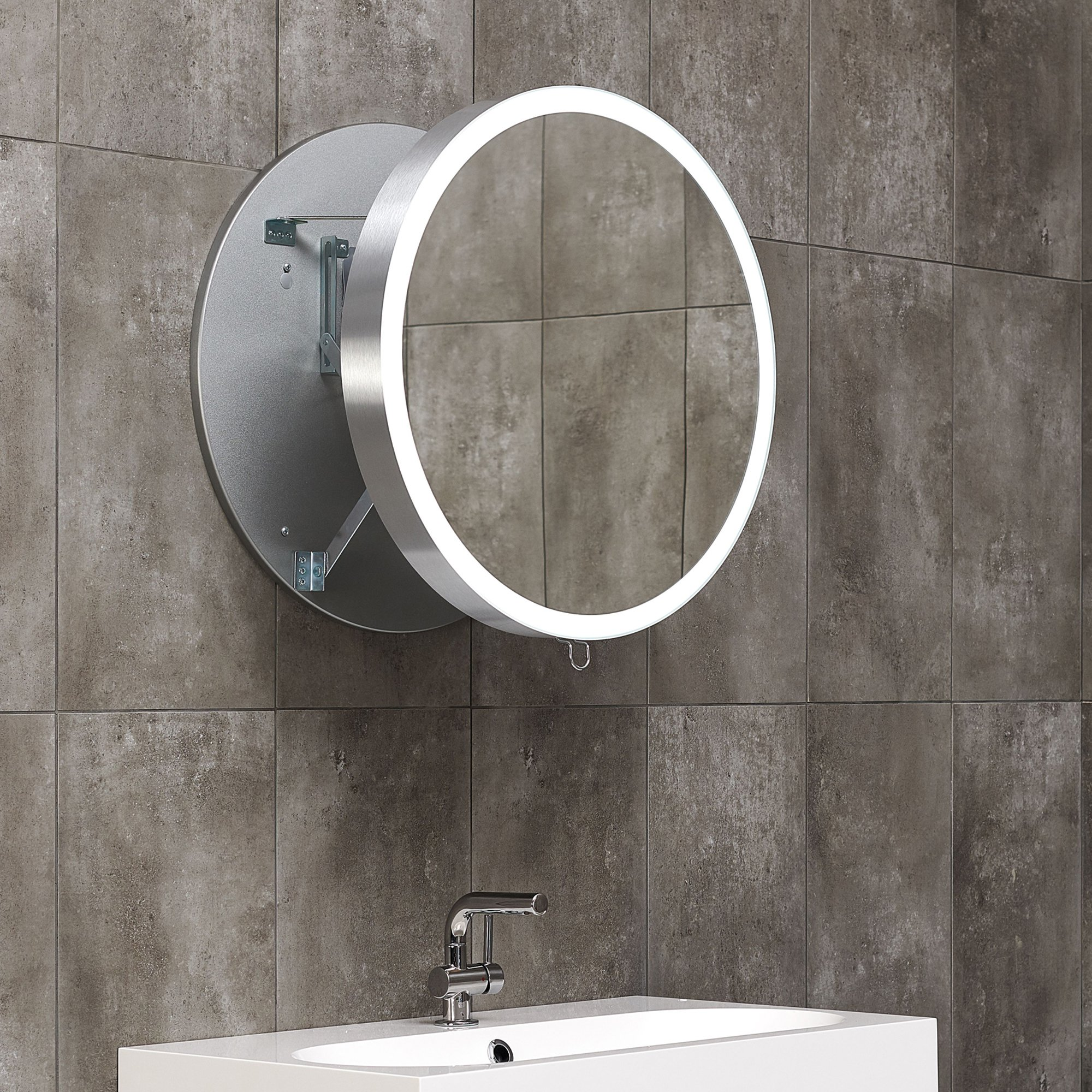 Ronde Badkamerspiegel Moon 60 Led Pull Out Ronde Spiegel