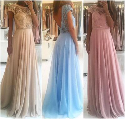 A-line Lace Bodice Chiffon Cap Sleeve Prom Dress,Long ...