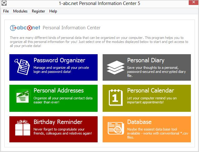 1-abcnet Personal Information Center - Organize all your personal - personal net