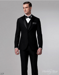 Black Suit With Red Bow Tie