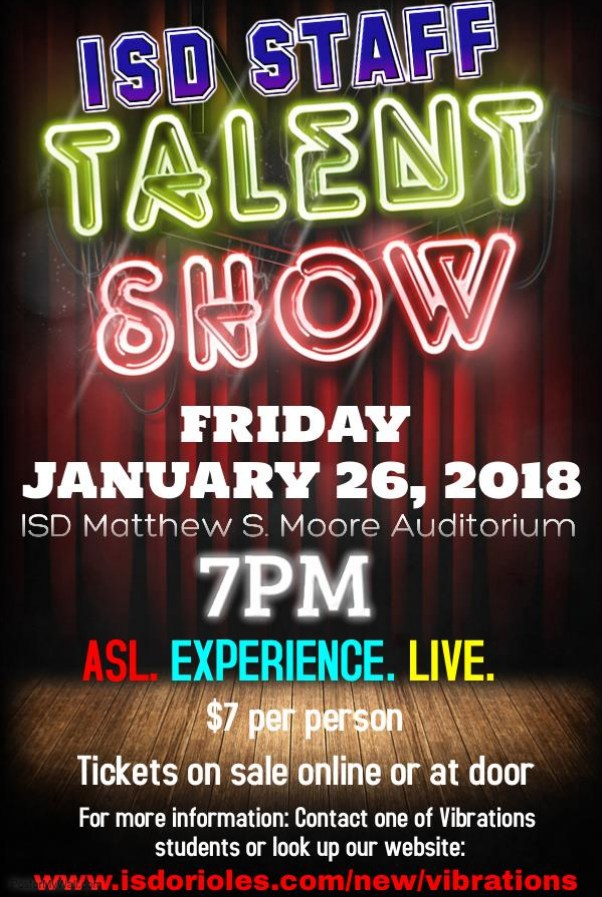 Indiana School For The Deaf - talent show flyer