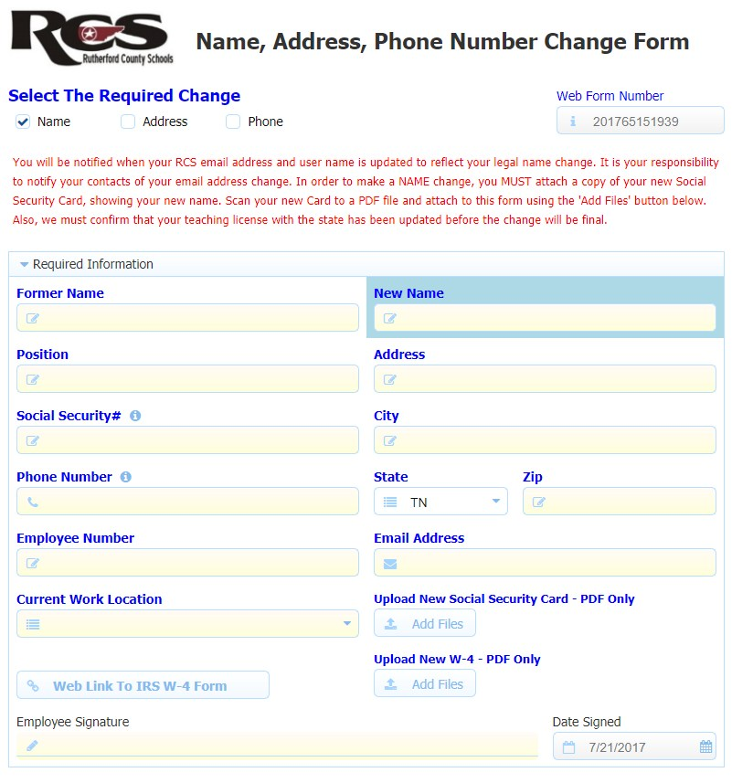 Name and Address Change \u2013 Human Resources \u2013 Rutherford County Schools
