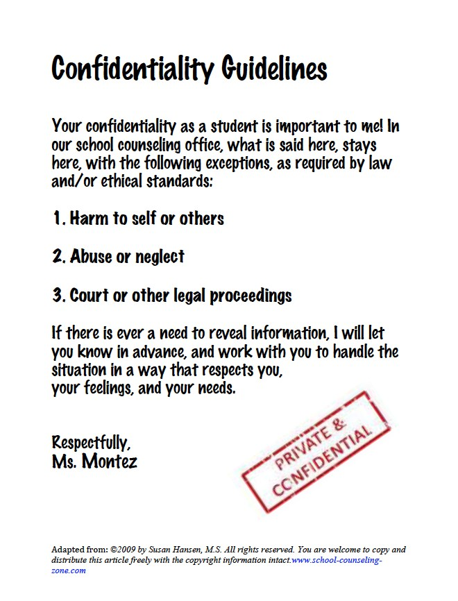 Confidentiality Statement \u2013 Counseling \u2013 Angela G Leal Elementary