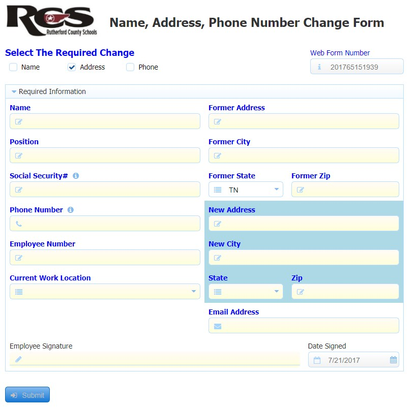 Name and Address Change \u2013 Human Resources \u2013 Rutherford County Schools - Address Change Form