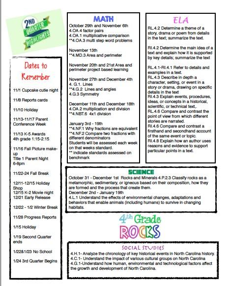 Quarterly Newsletters \u2013 Fourth Grade \u2013 Hasty Elementary School