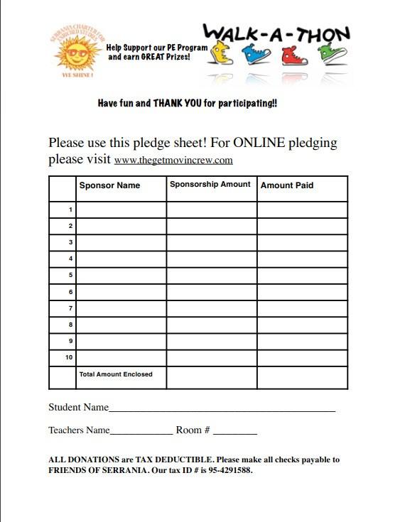 walk a thon pledge form - Onwebioinnovate