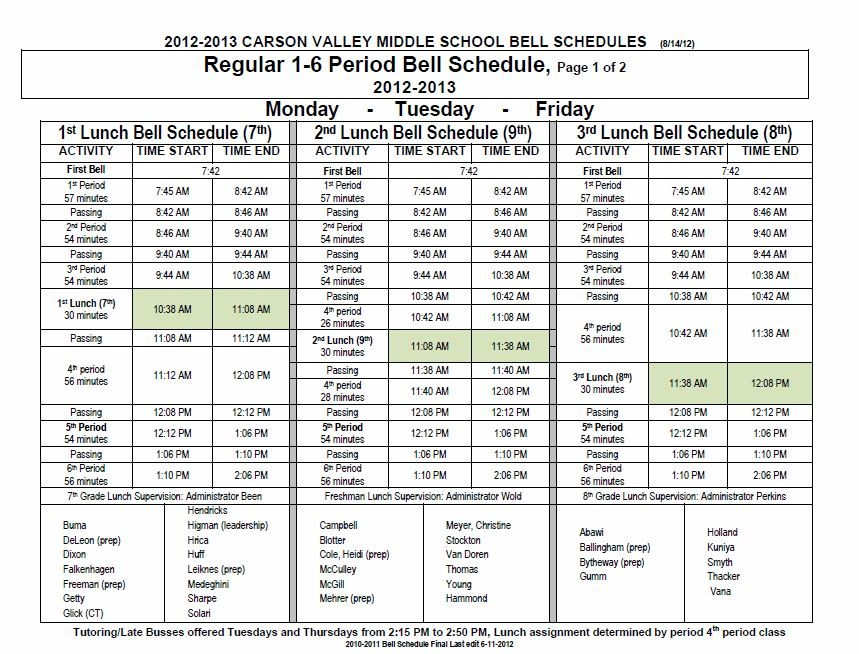 Day To Day Information \u2013 Students \u2013 Carson Valley Middle School
