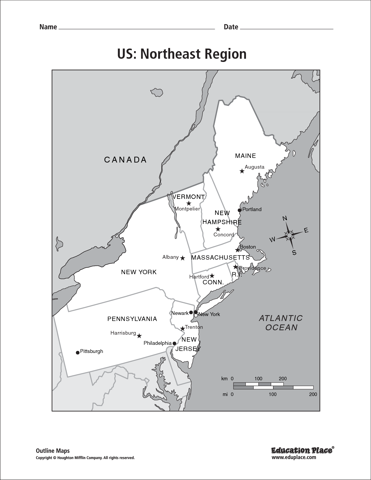 Northeast Region Of Us Map - Northeast region us map
