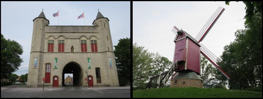 Visiter Bruges fauteuil roulant Porte Gand moulin