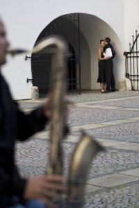 Spain couple kissing