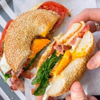 Easy Egg & Bacon Breakfast Bagel Recipe