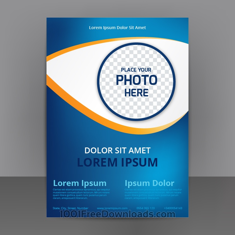 Free Vectors Business Abstract Flyer Template With blue Background - flyer template