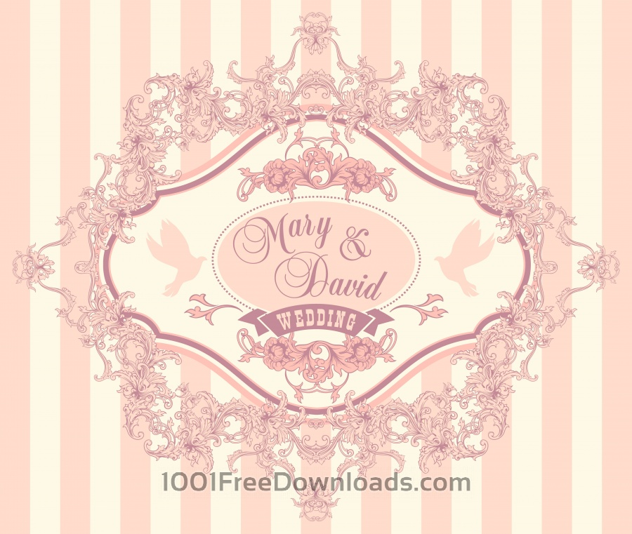 Free Vectors Wedding invitation cards with floral elements Vector