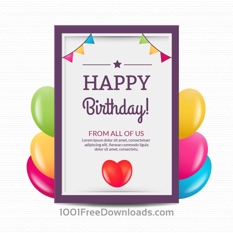 Free Vectors Happy birthday poster with balloons Backgrounds