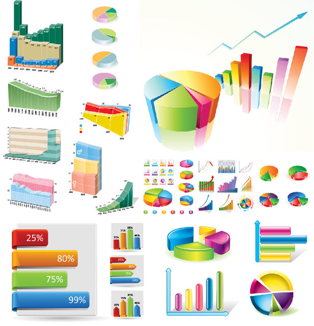 Free Vectors Creative Statistic Charts Infographic Set Free Great