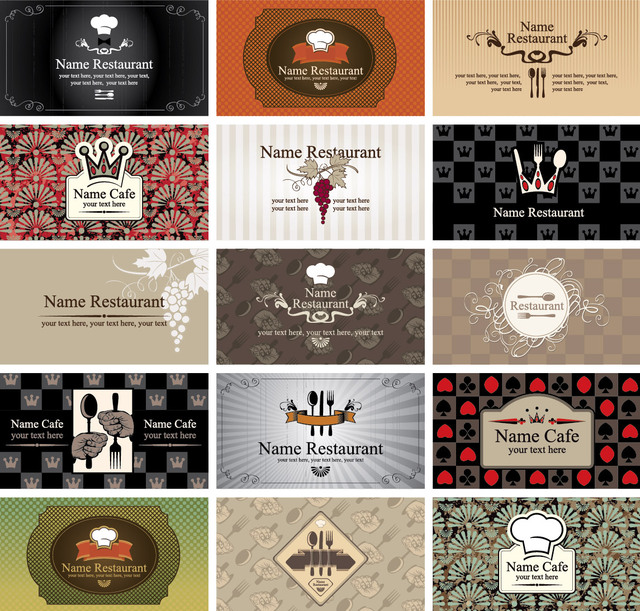 Free Vectors Western Style Restaurant  Cafe Business Card Set