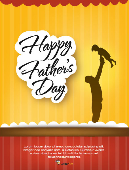 Free Vectors Father?s Day Flyer Template with Stripy Background