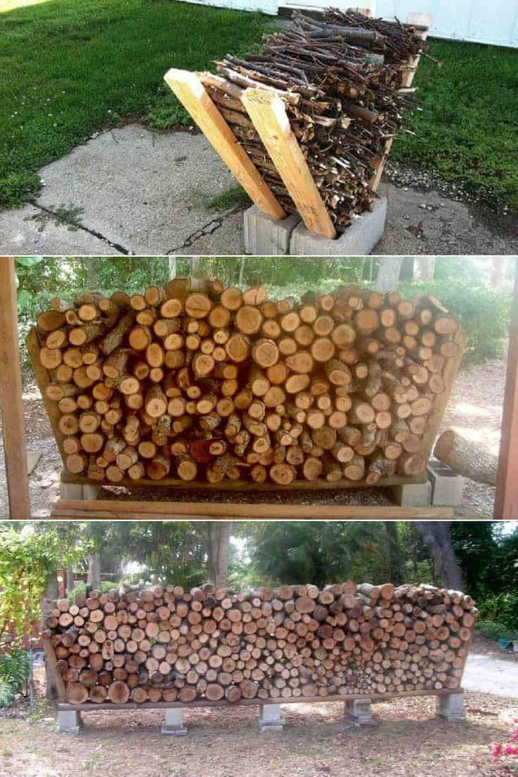 Outdoor Firewood Rack Easy Outdoor Diy Firewood Rack From Cinder Blocks 1001 Gardens