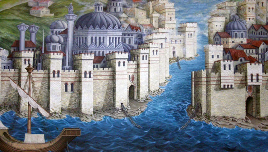 34226857 – ancient istanbul (constantinople),roman empire era -painting