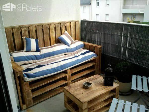 Coffre Banc Exterieur Pallets Terrace Bench & Table - Terrasse D'appartement En