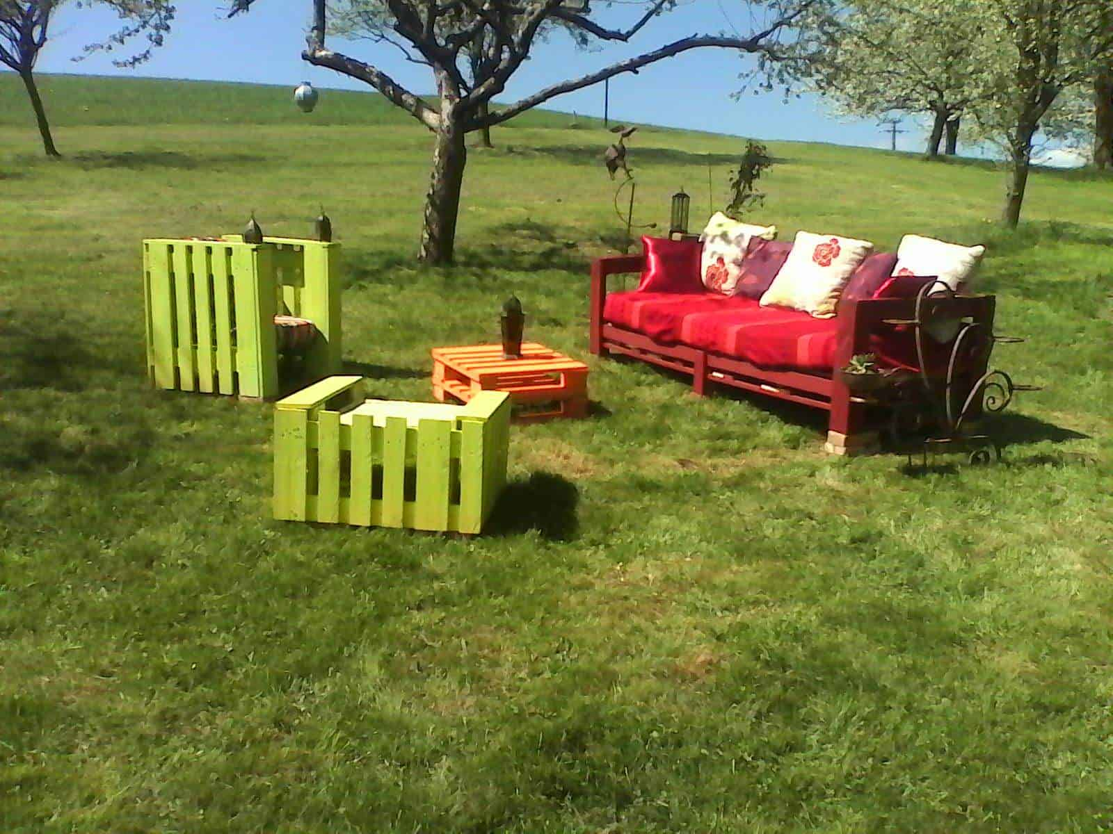 Salon De Jardin En Palettes Colorful Pallets Garden Set 1001 Pallets