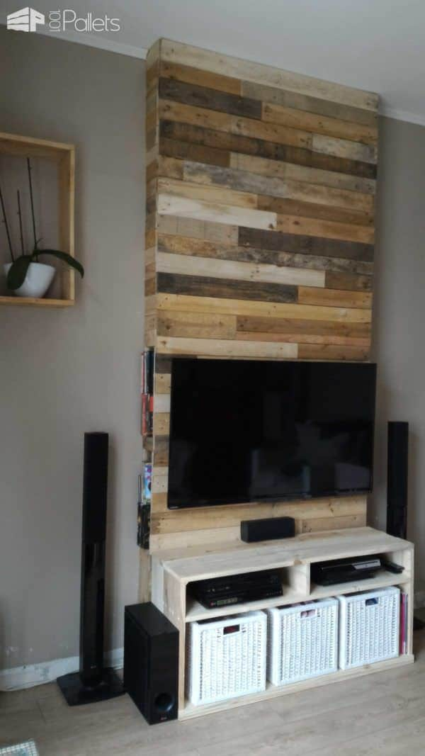 Dvd Rack Ikea Mur En Bois De Palettes / Entertainment Center Wall • 1001