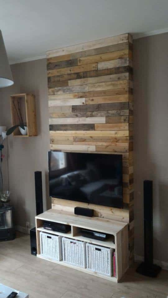 Tele Accrocher Au Mur Wall From Pallet Wood / Mur En Bois De Palettes • 1001 Pallets