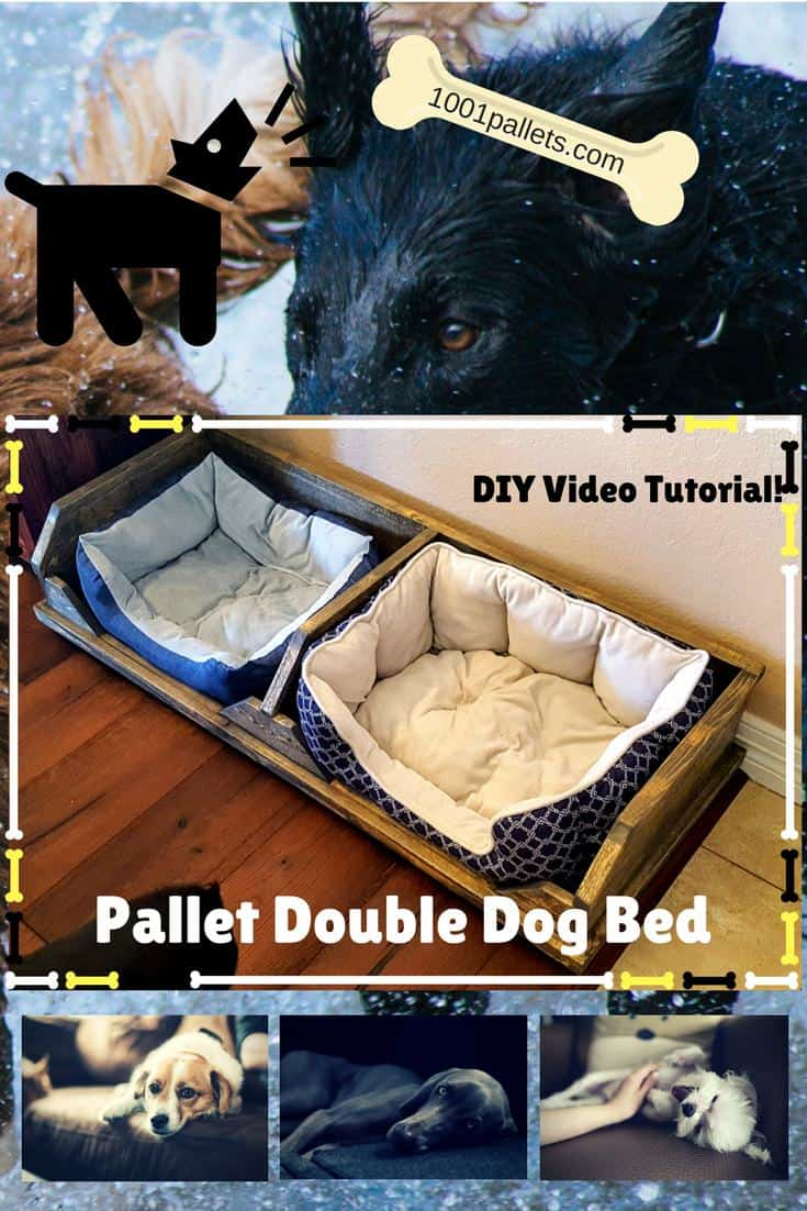 Double Dog Bed Diy Video Tutorial Pallet Two Dog Bed 1001 Pallets