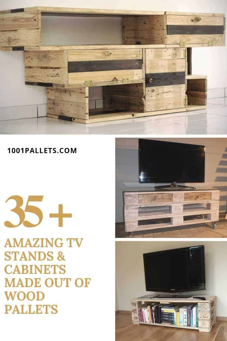35 Amazing Tv Stands Cabinets Made Out Of Wood Pallets 1001 Pallets