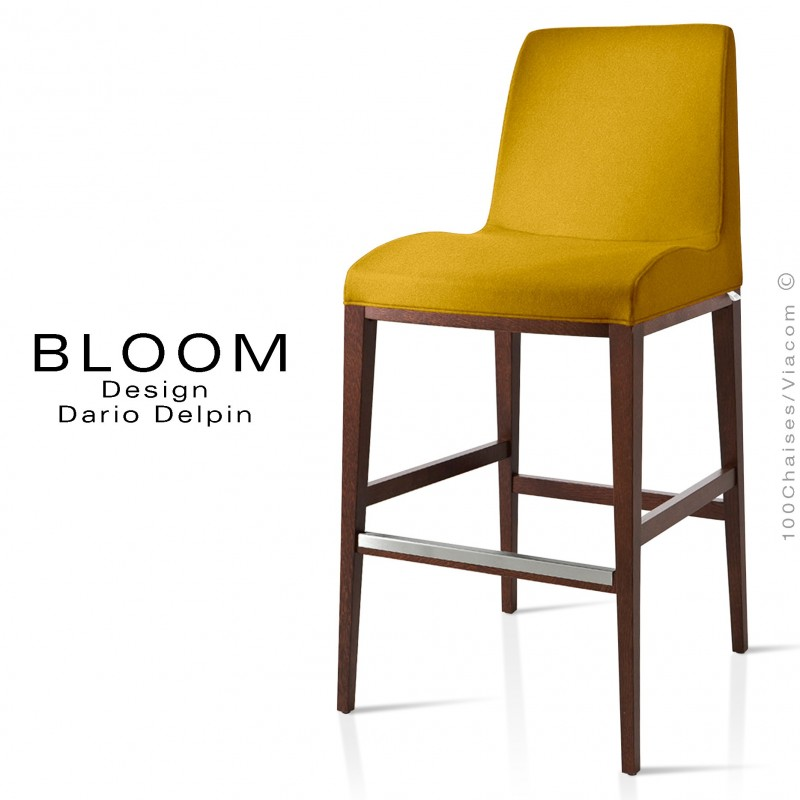 Tabouret De Bar Lounge Bloom Structure Bois Vernis