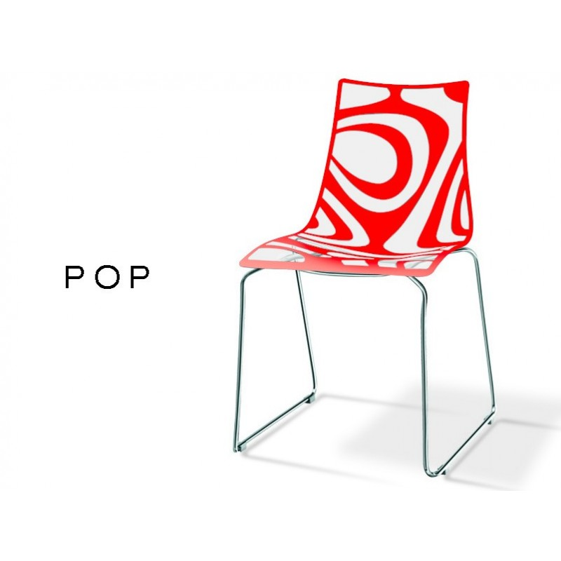 Chaise Pied Chromé Chaise Plastique Design Pop Assise Transparente Avec Motif