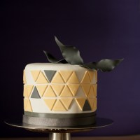 Yellow and Grey Geometric Cake