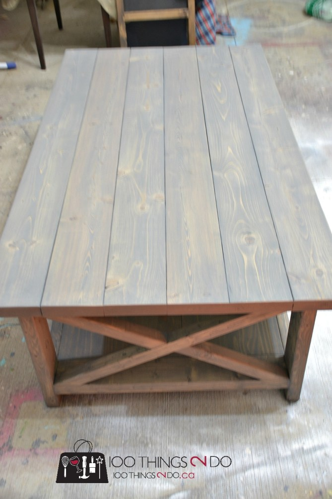 DIY Rustic X Coffee Table 3