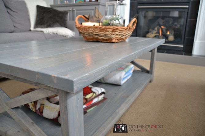 DIY Rustic X Coffee Table 5
