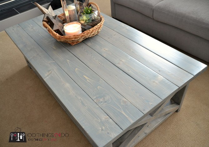 DIY Rustic X Coffee Table 7